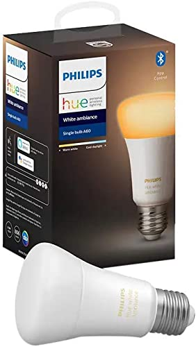 Philips Hue White Ambiance Edison Screw (A60) Dimmable LED Smart Bulb (Latest Model, Compatible with Bluetooth, Amazo...