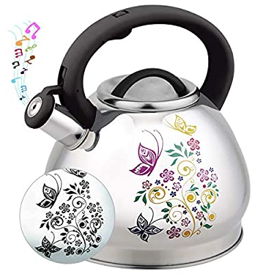 3L Tea Kettle Stovetop Whistling Teakettle Tea Pot,Food Grade Stainless Steel Color Changing Tea Kettles with Heat Proof Handle, Loud Whistle and Anti-Rust, Suitable for All Heat Source