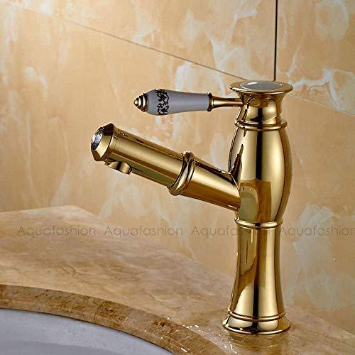 Keukengootsteen van behang, goud, bekken, waterkraan, antieke stijl, keramische handgreep, badkamer, waterkraan, uittrekken