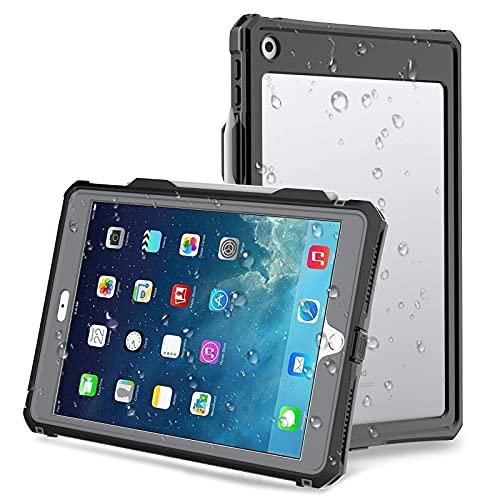 iPad 10.2 Hülle mit Stifthalter IP68 Wasserdichte iPad Hülle 7th/8th Generation 2019/2020 mit Schutzgitter,Ganzkörper-Schutzhüllen für iPad 7 gen 10.2 Zoll Stoßfest mit Riemenständer