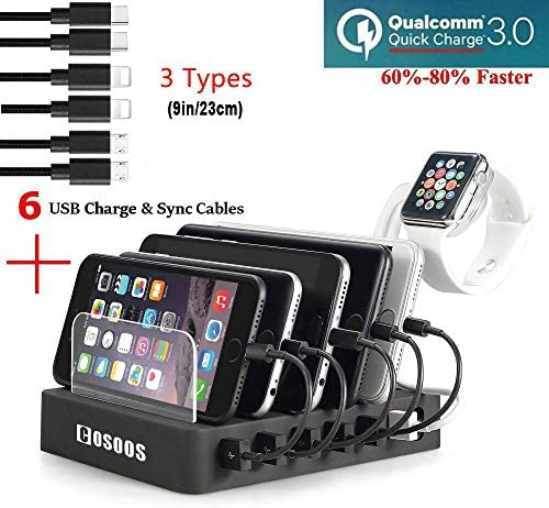COSOOS Fastest Charging Station with Quick Charge 3 0 6 Phone Charger Cables 3 Types lWatch product image