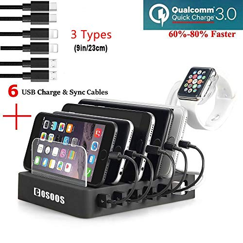 COSOOS Fastest Charging Station with Quick Charge 3.0, 6 Phone Charger Cables(3 Types),lWatch Stand,6-Port USB Charger Station,Charging Station for Multiple Devices,Tablet,Kindle