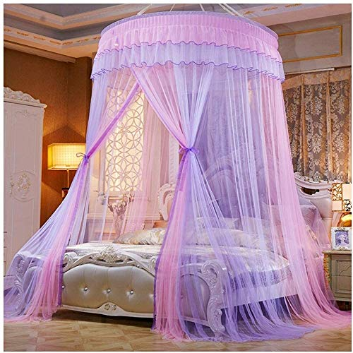 Dome Klamboe for tweepersoonsbed QueenKing Size Full Coverage Bed Canopy Gordijn Mosquito kippengaas Grey Pink dmqpp (Color : Pink Purple, Size : 180x200cm)