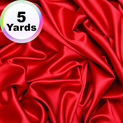 Charmeuse Satin Fabric | 5 Yards Continuous | 60' Wide | Silky, Bridal | Decoration, Fashion Crafts (Red, 5 Yd)