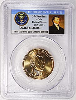 2008 P Pos. A James Monroe Presidential Dollar PCGS MS 66 FDI Presidential Label Holder