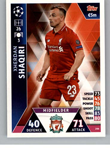 2018-19 Topps UEFA Champions League Match Attax #206 Xherdan Shaqiri Liverpool FC Official Futbol Soccer Card