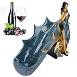 Poli à la main, casier à vin, statue de porte-vin à la mode, pour la décoration des étagères du salon d'appréciation(BS023-1 blue girl wine rack)