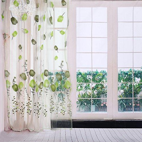 Cortinas de tul transparente con estampado colorido de tulipanes para balcón, sala de estar, dormitorio, cocina, elemento decorativo, 100 x 200 cm