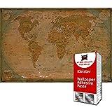 GREAT ART Foto Mural Mapa del Mundo Antiguo 336 x 238 cm - Papel Pintado 8 Piezas incluye Pasta para pegar