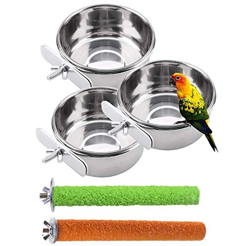 PINVNBY Parrot Food Water Bowls Bird Feeding Dish Cups Budgie Feeder with Clamp Stainless Steel Canaries Perches for Macaw Conure Lovebird Finch Small Animal 5 Pack