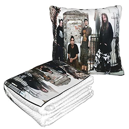 Soulfly-Primitive Music Band - Mantas de viaje, mantas de viaje y almohadas - Premium suave dos en uno para aeronaves, mantas de almohada de coche, mantas de sofá, mantas de manta