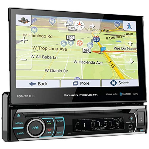 """Power Acoustik PDN-721HB Single DIN Bluetooth In-Dash DVD/CD/AM/FM Car Stereo Receiver w/ 7"""" Touchscreen and Navigation , BLACK"""