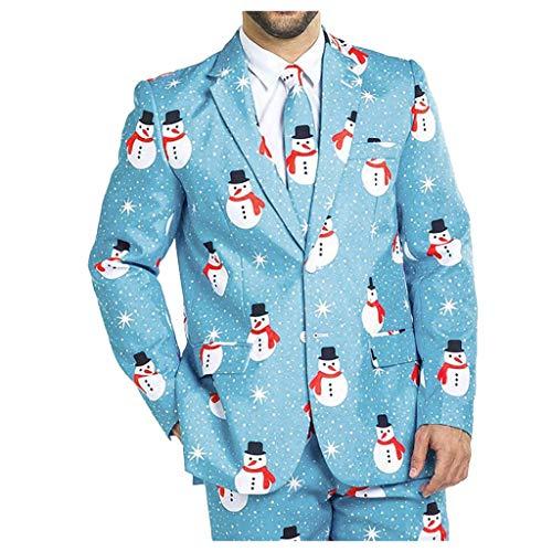 Hniunew Trendy Anzug Sakko Herren Dunkelblau Oberteile Coat Abschlussball KostüMe WeihnachtsanzüGe MäNner Ugly Weihnachten Schneemann Karneval Party Ballanzug Tweedanzug Gastanzug Suit