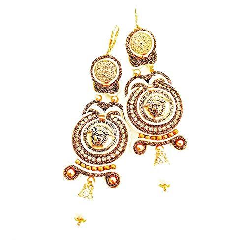Ohrringe aus Designer-Knöpfen - Medusa- Soutache-Technik, beadstart