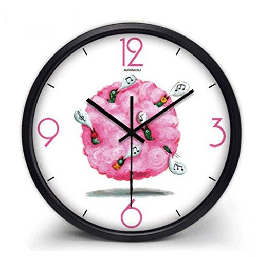 WTL wall clock Silencieux Horloge Murale Salon Creative Horloge Minimaliste Moderne Quartz Horloge Pendaison Table Chambre Horloge Murale Ronde (Couleur : Noir, taille : 14 inches)