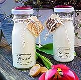 Lilygardencandles - Juego de 2 velas perfumadas (aroma frutal y dulce, aroma a caramelo pequeño y naranja, tiempo de combustión de cada vela 44 + horas)