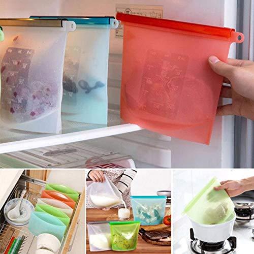 Bolsas De Silicona Grande (1 x 1L, 2 x 1.5L) para Alimentos Reutilizables Congelar Zip Grande para Fruta Legumbres Leche Verduras Sopa