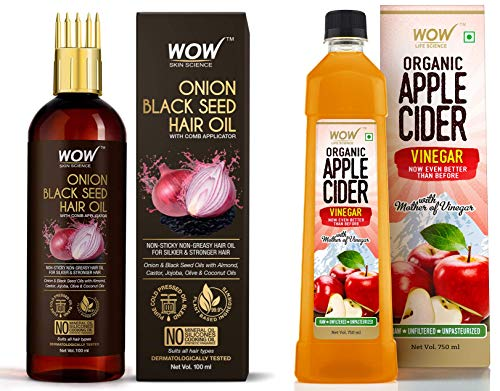 WOW Skin Science Onion Black Seed Hair Oil - WITH COMB APPLICATOR - Controls Hair Fall, 100 ml and WOW Skin Science Brightening Vitamin C Face Wash (100ml)