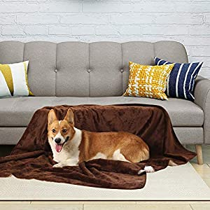 ALOANES Waterproof Dog Fleece Blanket for Couch Protection, Car Back Seat, Three-Layer Design of Sherpa, Flannel, Waterproof Cloth, Fuzzy Warm Cozy Soft Blanket, Brown 50″x60″Size