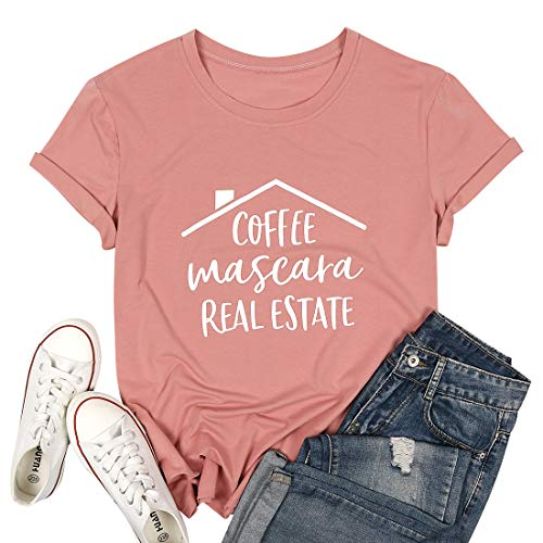 Coffee Mascara Real Estate T Shirt Women Letters Print Shirts with Funny Sayings Casual Short Sleeve Realtor Gift Shirts Tee