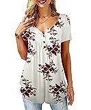 Tekaopuer Tops de verano para mujer, blusa con cuello en V con botones, camisas sueltas con volantes, túnica casual de manga corta, Z1-blanco, L