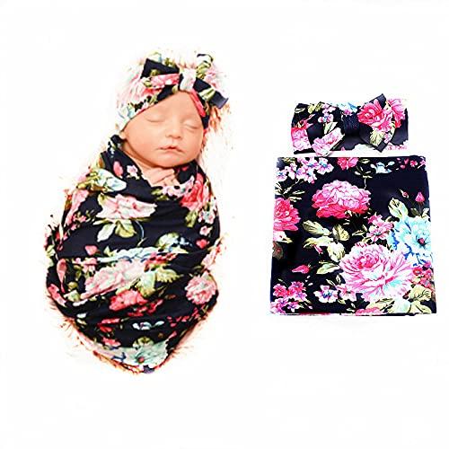 Galabloomer Receiving Blanket Headband Set Flower Print Baby Swaddle Receiving Blankets… (Navy Blue Rose)
