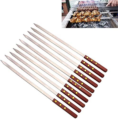 Onesex Pinchos de Barbacoa Grande/Barbacoa de Metal Barbacoa Pinchos al Aire Libre Barbacoa Tira manija para Barbacoa Multi-tamaño / 10-45cm * 1.5mm Establecido 10