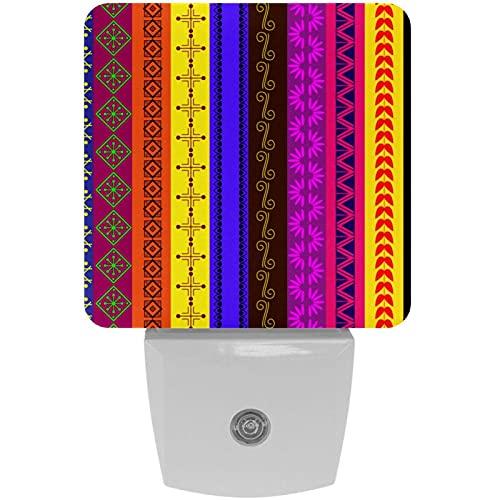 Lámpara de noche LED con impresión de henna a rayas, con luz nocturna para niños, con movimiento automático de atardecer a amanecer, ideal para dormitorio, baño, escaleras, cocina, pasillo