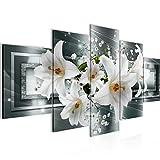 Runa Art - Bilder Blumen Lilien 200 x 100 cm 5 Teilig XXL Wanddekoration Design Grau Grün 204751a