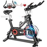 HEKA Bicicleta Spinning Pro-Indoor, Bicicleta Estáticas con disco de inercia de 20kg, Bici Spinning Bicicleta Estática para Fitness, con APP, Asiento Ajustable, Pantalla LCD y Pulsómetro, Max.150 kg