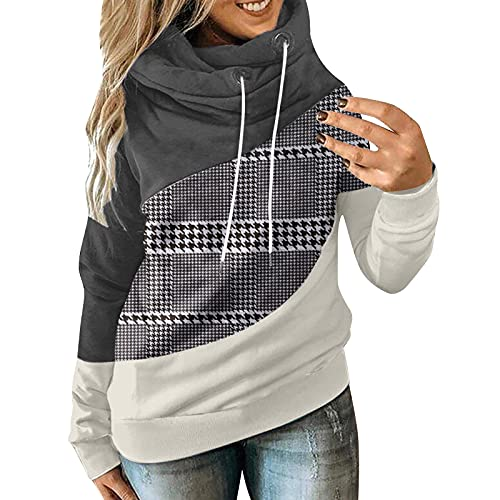 Long Sleeve Hoodies for Women Plus Size Loose Casual Stitching Turtleneck Pullover Fashion Sweatshirt with Drawstring Black