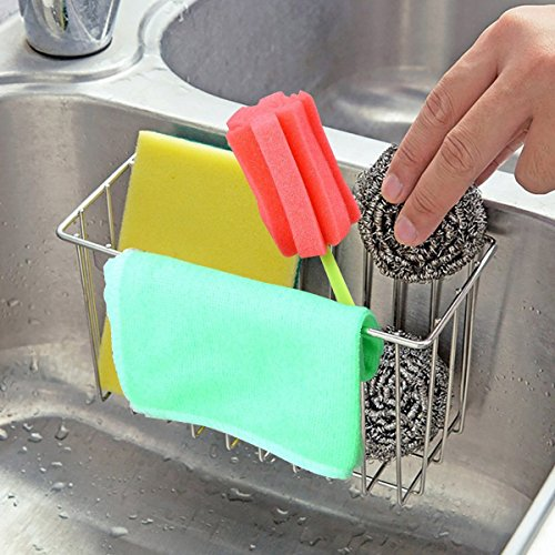 Sponge Holder Sink Caddy Kitchen Stainless Steel Brush Rack Organizer Soap Dishwashing Liquid Drainer
