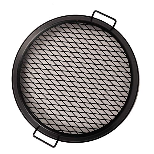 Dragonfire 19-inch Round Metal Grill Grate with Handle for Fire Pits - Ideal for Camping and Outdoor Use, Black