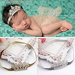 XICHENBaby Girls Crown Headband Newborn Princess Head Band Headdress Elastic Hair Band (Crystal -2Pack)