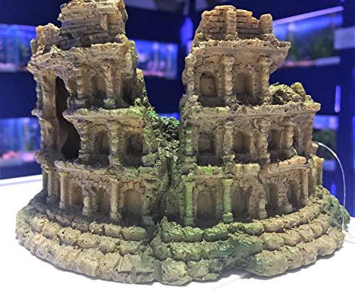 Mezzaluna Gifts Amphitheatre Ruins Aquarium Fish Tank Ornament ((M) Amphitheatre Ruin L 16 cm x H 9 cm x D 9 cm)