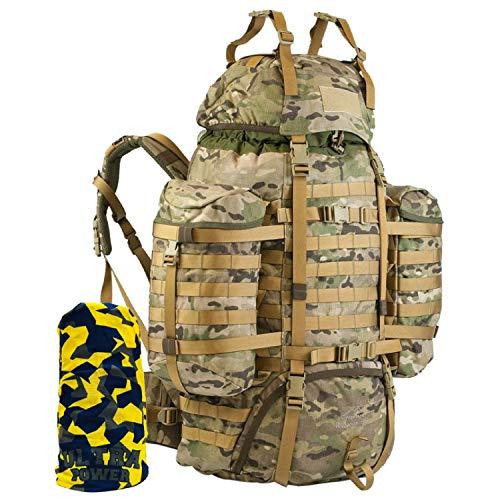 Wisport taktischer Militär Rucksack Damen Herren I Tactical Backpack I Military Pack Molle | Assault | Armeerucksack | Tarnung I Camouflage I Raccoon 85 Liter + Ultrapower Schlauchtuch US Multicam