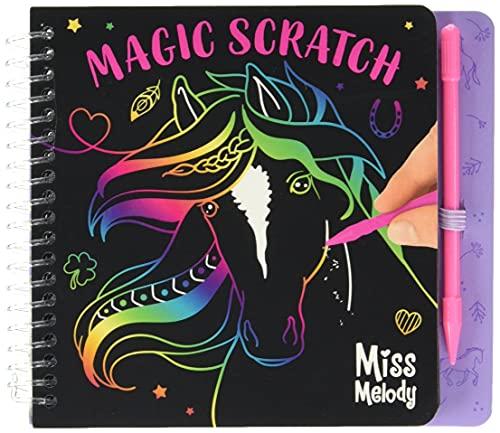 Depesche 10709 Miss Melody - Mini Magic Scratch Book, Kratz-Buch mit tollen Pferde-Motiven zum Kratzen, magischer Farbverlauf, ca. 15,3 x 13,2 x 1,8 cm