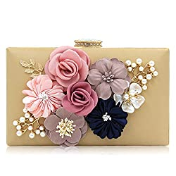Floral Clutch With Pearls and Rhinestones Purse