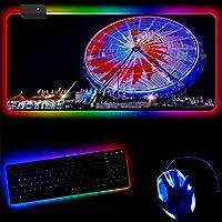 ゲーミングマウスパッド ゴージャスなフェリスホイールRGBマウスパッドLED発光ラップトップキーボードオフィスパッドゲームアクセサリーUSB有線ゲーマーマウスパッド-30x60x0.4cm