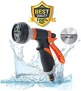 Garden Hose Nozzel - BBD Professional Grade Hose Head - 8 Spray Patterns -High Pressure Nozzle - No LEAKS, Corrosion, or Rust - Best used for Outdoor Landscaping and Gardening, Car Washing, and Pets