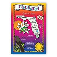 FLORIDA STATE MAP postcard set of 20 identical postcards. Post cards with FL map and state symbols. Made in USA. [並行輸入品]