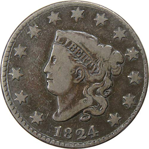 1824 Coronet Head Large Cent F/VF Fine/Very Fine Copper Penny 1c US Type Coin