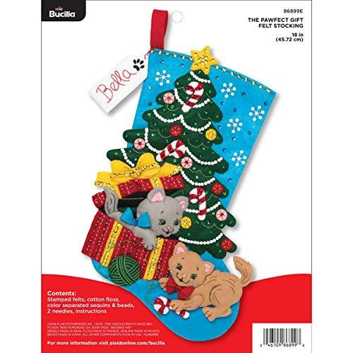 Bucilla 18-inch Christmas Stocking Felt Applique Kit, 86899E Pawfect Gift