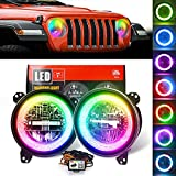 COWONE DOT Approved 9'Inch RGB Halo Led Round Headlights [DIY RGB Color] Compatible with Jeep Wrangler JL Sport Rubicon Sahara 2018-2020[Integrated Mounting Bracket]