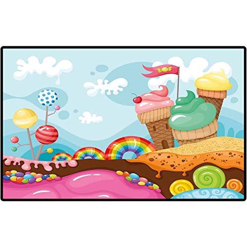 Ice Cream Decor Front Doormat Dessert Land with Rainbow Candies Lollipop Trees Cupcake Mountains Cartoon Rubber Back Non Slip Door Mat Entrance Rug Shoe Scraper 47x35