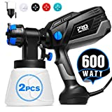 Paint Sprayer, 600 Watt Prostormer 1000ml/min HVLP Electric Paint Spray Gun with 3 Spraying Patterns, 4 Nozzle Sizes, 2Pcs 1000ml Detachable Containers, Easy to Spray and Clean for Home Painting