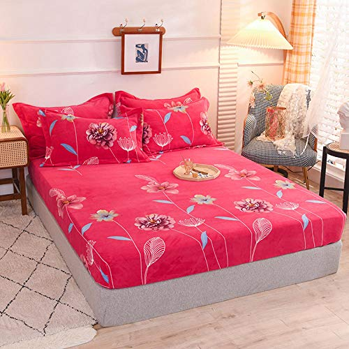 ZXCVB Winter Flannel Velvet Bed Linen Home Elastic Fitted Sheet Double Queen King Size Mattress Cover Nordic Style Bedspread 180x200cm (Color : ER, Size : 2 pcs Pillowcase)