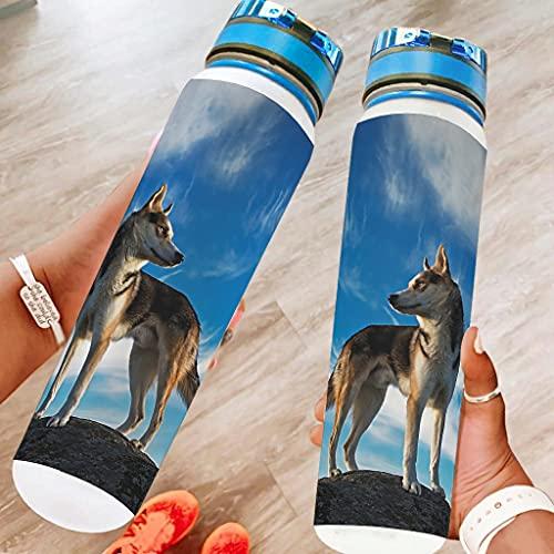 Banniyouall Wolf Sports - Botella de agua (1000 ml), color blanco