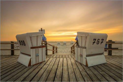 Poster 30 x 20 cm: Strandkorb zum Sonnenuntergang an der Nordsee von Dennis Stracke - hochwertiger Kunstdruck, neues Kunstposter