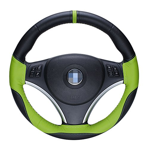 U&M Universal DIY Hand Sewing Steering Wheel Cover Microfiber Leather Anti-Slip Stitch On Wrap Hand Made with Needle & Thread (Green & Black)